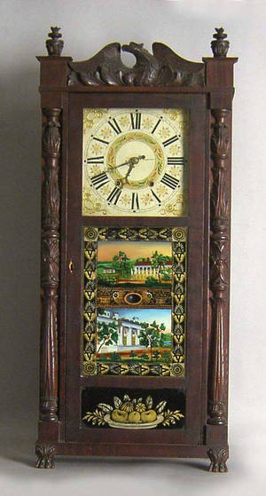 Connecticut late Federal mahogany mantle clock by Jeromes  Darrow