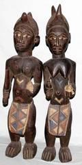 050172 NIGERIAN IBO CARVED WOOD MALE  FEMALE FIGURES