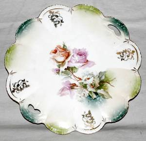 061312 R S PRUSSIA PORCELAIN CAKE PLATE C 1910