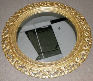 030237 CARVED GILT WOOD  GESSO MIRROR DIA 54