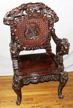 070231 CHINESE CARVED DRAGON DESIGN TEAKWOOD CHAIR