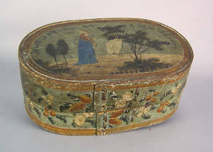 Continental painted pine brides box early 19th c