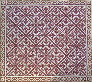 Pieced oak leaf quilt mid 19th c