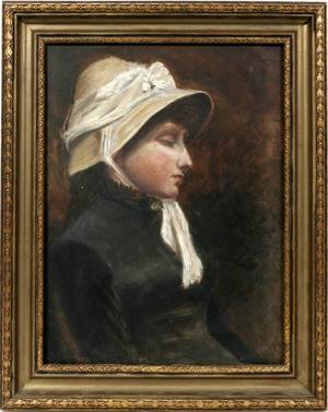 042257 ENGLISH OIL ON CANVAS LADY WEARING BONNET