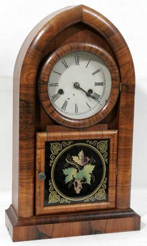 040330 NEW HAVEN GOTHIC STYLE WALNUT CLOCK C1900
