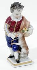 032180 DRESDEN PORCELAIN FIGURE BOY  DOG H 45