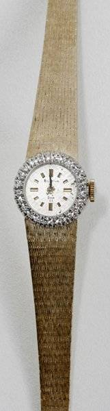 032146 BULOVA ANTIQUE LADYS WATCH W DIAMOND BEZEL