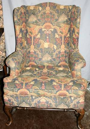 070281 QUEEN ANN STYLE WING BACK MAHOGANY ARM CHAIR