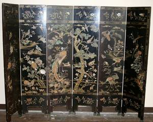050304 CHINESE LACQUER MOPEARL  SOAP STONE SCREEN