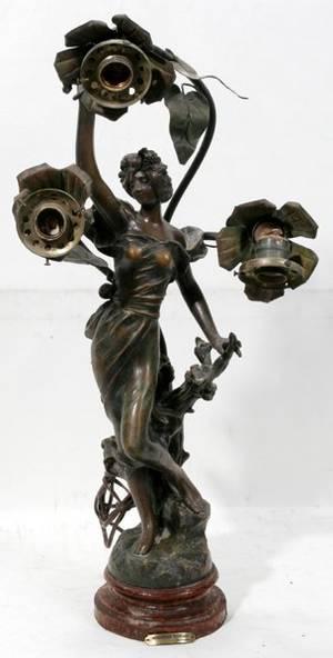 042295 FRENCH ART NOUVEAU SPELTER FIGURAL LAMP H25