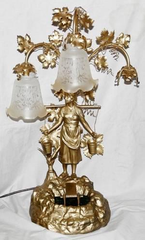 041470 SPELTER FIGURAL LAMP C 1900 H 27