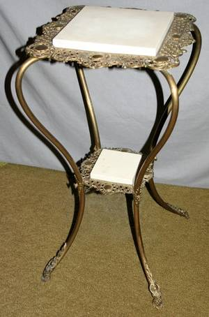 040344 VICTORIAN BRASS  MARBLE PLANT STAND C 1880