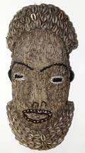 061431 AFRICAN WOOD MASK W BEADING  COWRY SHELLS