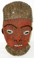 061430 AFRICAN WOOD MASK W BEADING  COWRY SHELLS