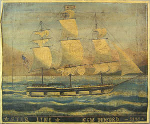 American oil on canvas ship portrait 19th c