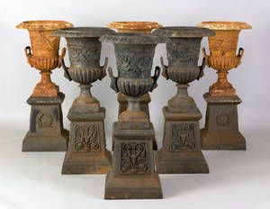 Set of 6 cast iron garden urns late 19th c