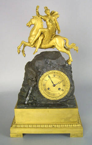 French gilt bronze mantle clock early 19th c