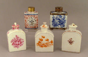 Five Chinese export porcelain tea caddies late 18thearly 19th c