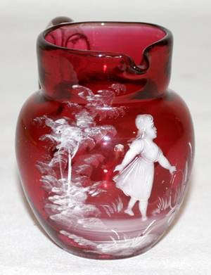 042382 MARY GREGORY CRANBERRY GLASS CREAM PITCHER