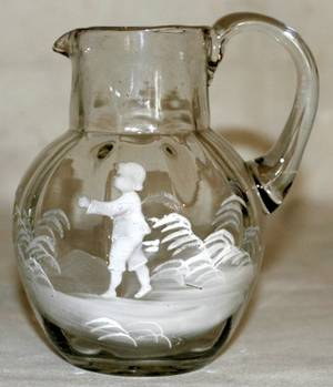 042381 MARY GREGORY BLOWN GLASS PITCHER C 1870