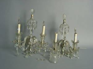 Pair of pressed glass wall sconces