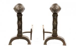 Arts  Crafts Style Cannonball Bronze Andirons