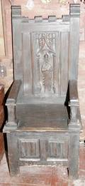 022323 GOTHIC STYLE OAK CHAIR W CARVING OF SAINT