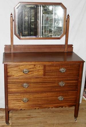 060405 VICTORIAN WALNUT DRESSER W ATTACHED MIRROR