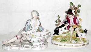 042398 DRESDEN STYLE PORCELAIN SWEETMEAT DISH FIGURE