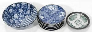 041584 BLUE  WHITE PORCELAIN BOWL PLATES  BOWL