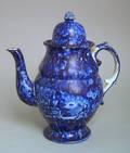 Historical blue Staffordshire coffee pot 19th c