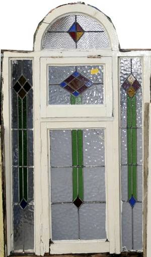 061575 LEADED STAINED GLASS WINDOW C 1900 62x36
