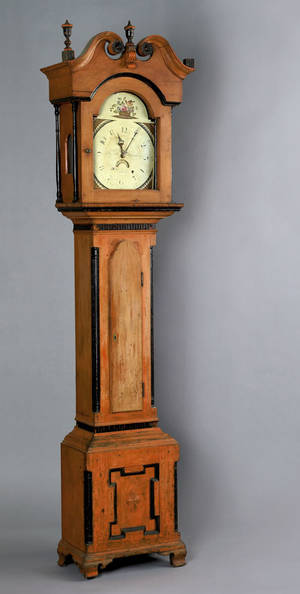 Reading Pennsylvania painted tall case clock ca 1800