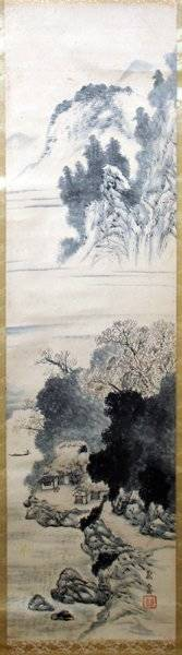 042443 JAPANESE PAINTED SILK SCROLL LANDSCAPE