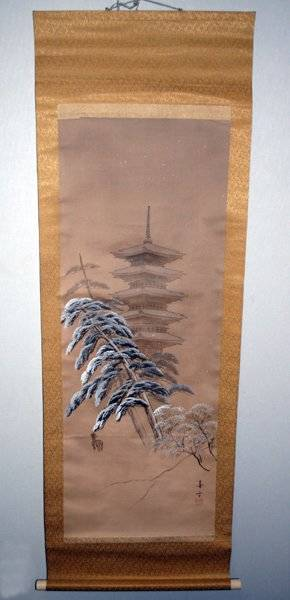 042442 JAPANESE PAINTED SILK SCROLL PAGODA  DEER