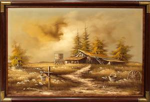 061604 L ROMAN MONOCHROME OIL ON CANVAS FARM SCENE