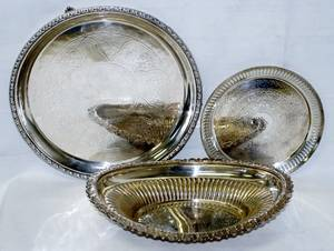 051497 ENGLISH SILVERPLATE TRAY SALVER  OVAL DISH