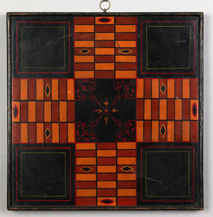Painted parcheesi board late 19th c