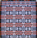 Red blue green and white jacquard coverlet dated 1852