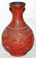 052549 CHINESE CINNABAR CARVED VASE ANTIQUE H7 12