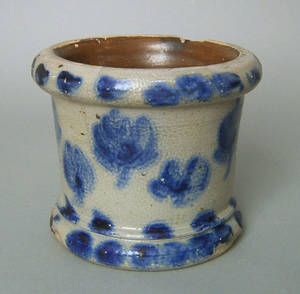 Unusual blue decorated stoneware mortar late 19th c