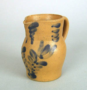 Miniature blue decorated stoneware pitcher ca 1860