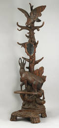 German Black Forest carved walnut hat rackumbrella stand ca 1895