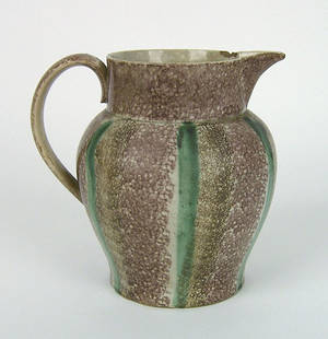 Brown purple and green rainbow spatter pitcher