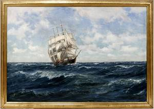061055 PATRICK DUNBAR OIL ON WOOD CLIPPER SHIP
