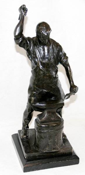 052009 SCHMIDT BRONZE FIGURAL SCULPTURE OF BLACKSMITH