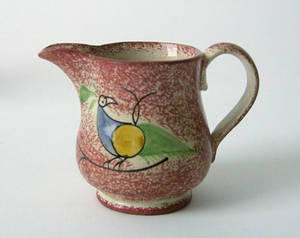 Red spatter creamer 19th c