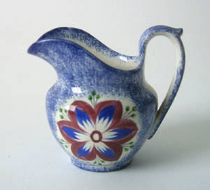 Blue spatter creamer 19th c