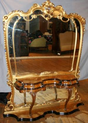 050033 ITALY WALNUT  GILT WOOD CONSOLEHALL MIRROR