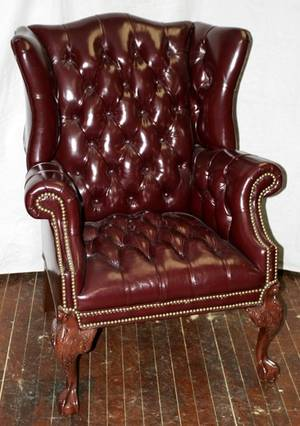 050032 LEATHER WING BACK CHAIRS H 44 W 32 D 30